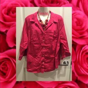 Hot Pink/Fuchsia apt. 9 Button Down Shirt/Top ~ 3X